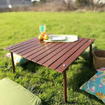 "Cambridge Casual Mahogany Roll Up Picnic Table (30"" W x 30"" D x 15"" H), Natural"