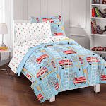 Dream Factory Fire Truck Ultra Soft Microfiber Comforter Set Twin Blue