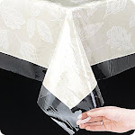"Simple Elegance Multi Size Super Clear Vinyl Tablecloth Protector - 54x54"" Square Clear"