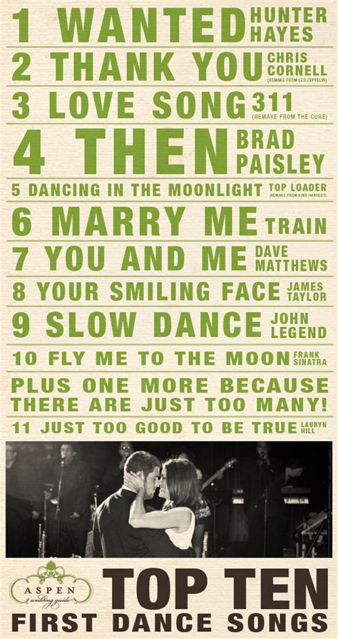 Top Ten First Dance Songs   Aspen Wedding Guide