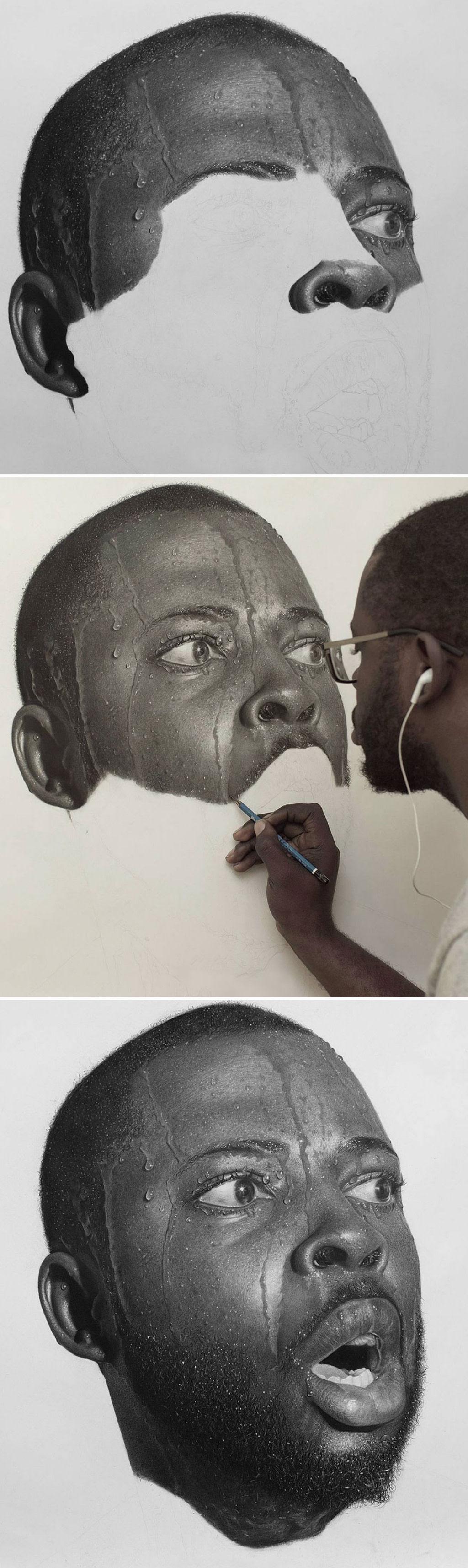 Retratos hiperrealistas de grande porte renderizados com grafite e carvão 06