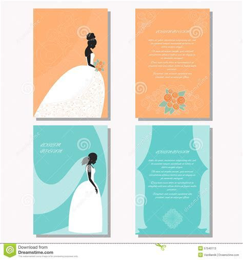 Set With Bride Silhouette For Design Wedding Card