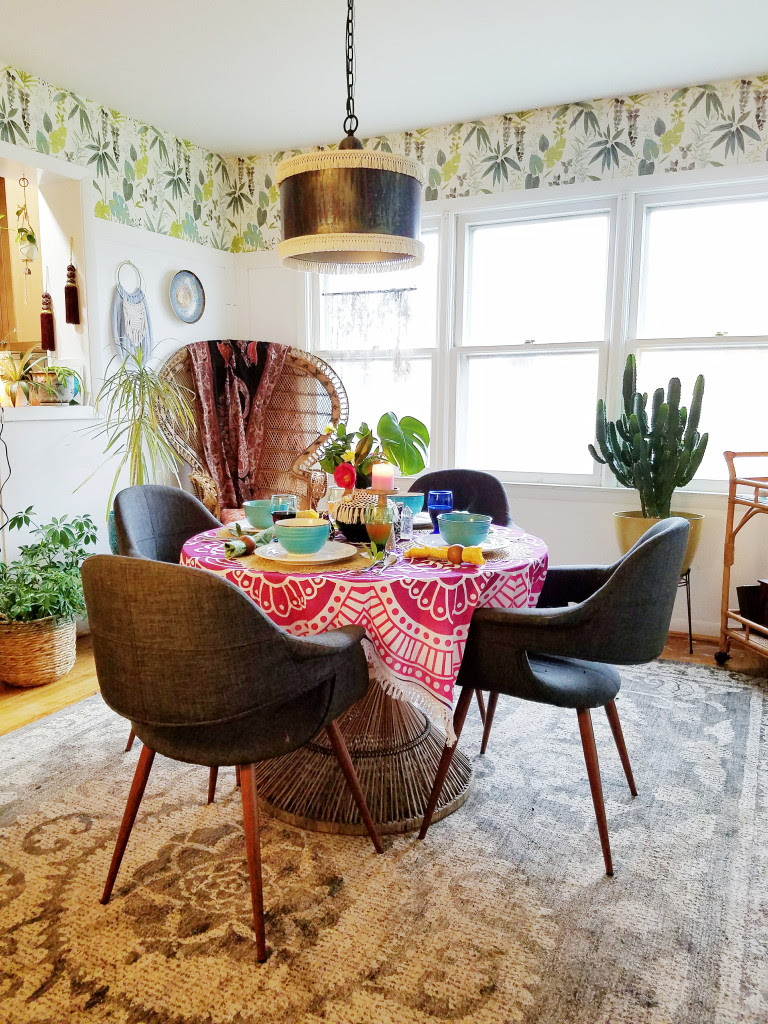 Cozy boho tablescape with spring touches you can totally copy