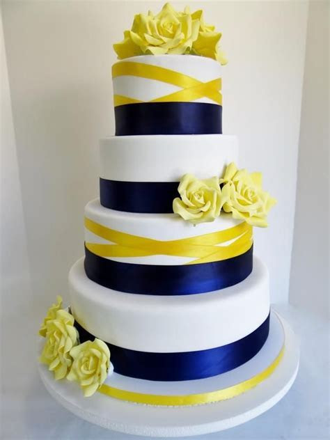 royal blue and canary yellow wedding cake   Blue And