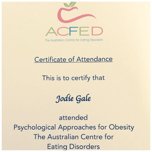 The Australian Centre for Eating Disorders (ACFED) Psychological Approaches to Obesity Approved Practitioner | Jodie Gale