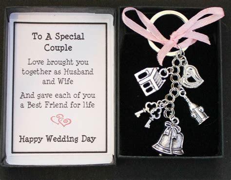 WEDDING DAY GIFT KEYRING KEEPSAKE, FOR BRIDE AND GROOM