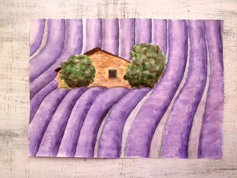 Provence France landscape, lavender fields, large original watercolor 12x16 - HandyHappy