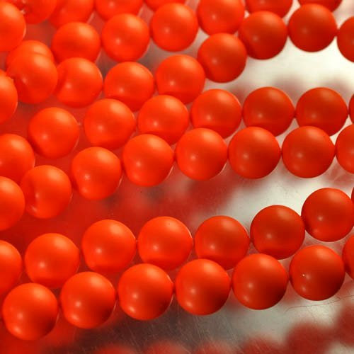 "s33096 Swarovski Neon Pearl - 8 mm Round Pearl (5810) - Neon Orange Pearl (strand 25) - <font color=""#FF0000"">Discontinued</font> - 60% off!"