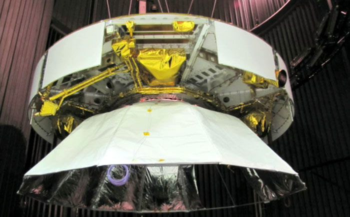 The MSL's cruise stage and aeroshell are prepped for testing inside a thermal vacuum chamber at NASA's Jet Propulsion Laboratory in California.