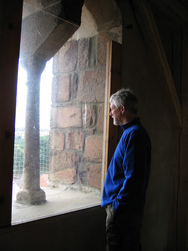 Fitz looking out the Telc clock tower window