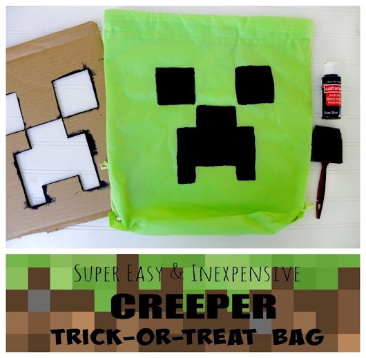 Easy DIY MINECRAFT Creeper bag — perfect for Birthday parties or Halloween