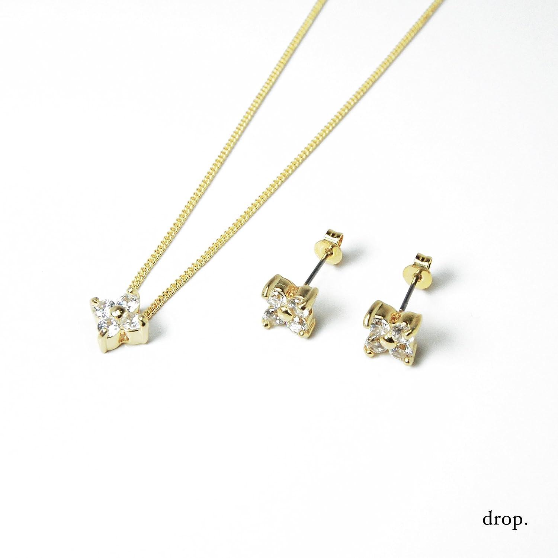 drop.ピアス&ネックレス ギフトボックス ジルコニア フラワー