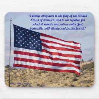 American Flag Over High Desert Mouse Pad