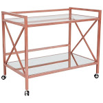 Offex Mobile Glass Kitchen Serving Bar Cart with Rose Gold Frame
