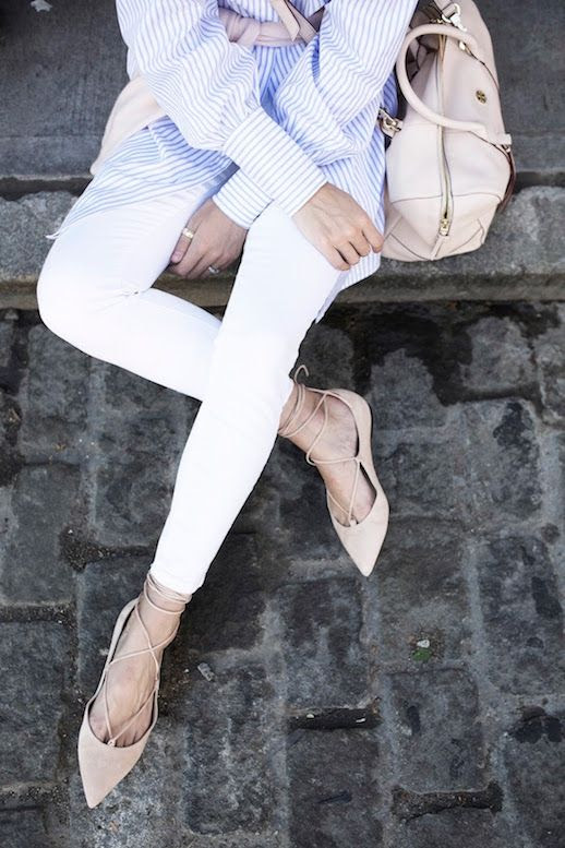 Le Fashion Blog 25 Ways To Wear A Striped Button Down Shirt Lace Up Pointed Flats White Jeans Via Atlantic Pacific Leather Bag Blogger Style
