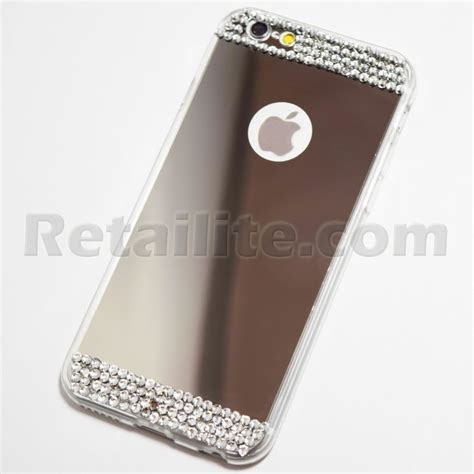 Diamond Studded Silver iPhone 6 / 6S Mirror Case   Retailite