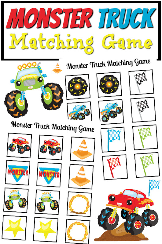 Monster Truck Matching Game Printable - Real And Quirky