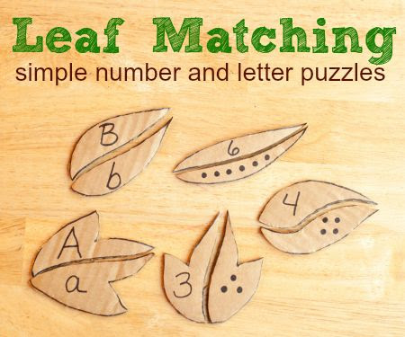 Leaf Matching simple number and letter puzzles