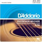 D'Addario EJ16 Phosphor Bronze Acoustic Guitar Strings, Light Gauge