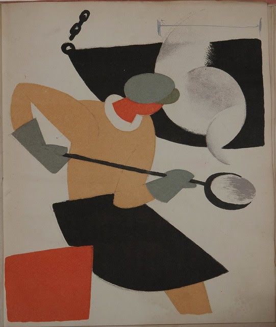 Russian placards, 1917-1922 (Vladimir Lebedev) - Productive propaganda. A caster with a casting spoon in his hands, a mould in the left corner