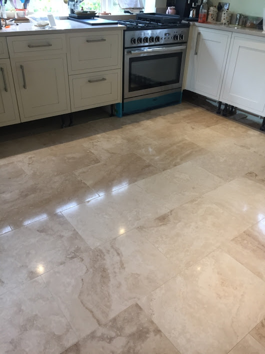 Lustre Restored to Large Area of Travertine Tiles in Cambridge | Cambridge Tile Doctor