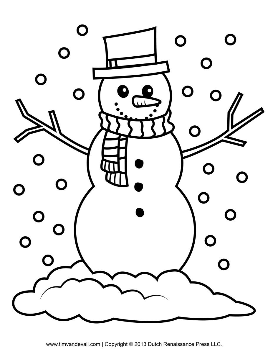 Printable Coloring Pages For Kids Snowman Drawing With Crayons