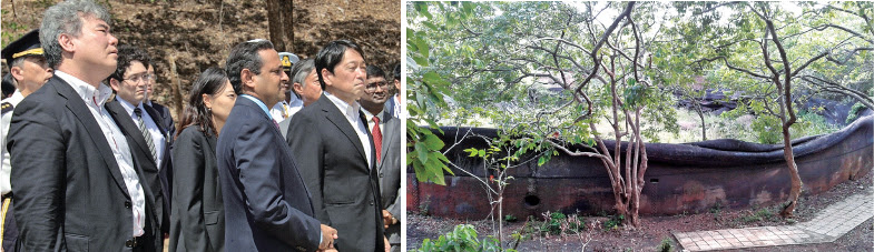 Japanese Defence Minister Visit oil tanks at the Trincomalee Oil Tank Farm