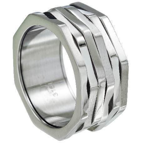 men's stainless steel spinning biker ring
