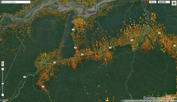 Mapa forestal que muestra la deforestación histórica en la Amazonia.