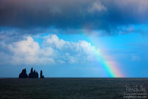 Rainbow and Reynisdrangar Sea Stacks, Vík í Mýrdal, Iceland