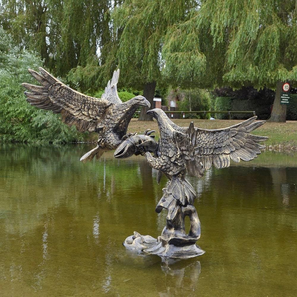 Garden Eagle Sculpture Pond Bird Sculptures - Candle and Blue