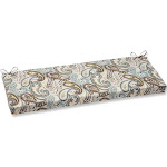 """45"""" Paisley Giardino Light Blue and Brown Outdoor Patio Bench Cushion by Christmas Central"""