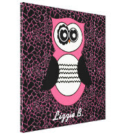 Retro Pink Owl with Animal Print and Name Gallery Wrapped Canvas