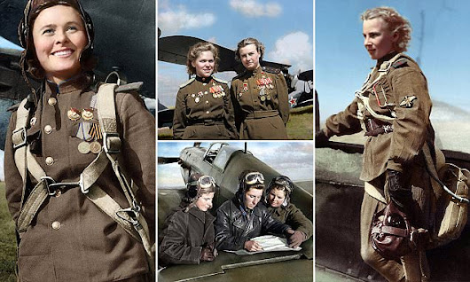 Fearless female Soviet pilots transformed in colourised WWII photos