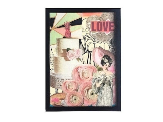 5x7 Framed Mixed Media Collage Floral Home Decor by 4StoriesUp