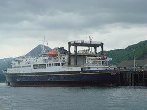 English: The MV Tustumena, a ferryboat that is...