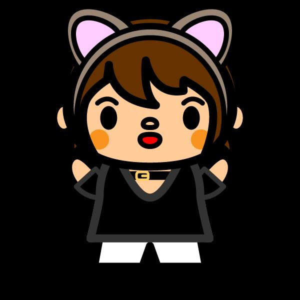 かわいい猫耳女の子の無料イラスト商用フリー オイデ43