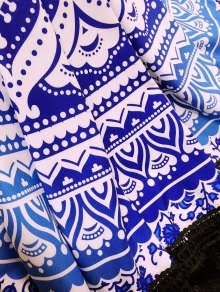 Blue and White Tassels Beach Towel