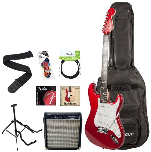 bass guitars amps fender starcaster electric guitar pack with amp and accessories candy. Black Bedroom Furniture Sets. Home Design Ideas