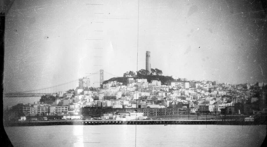 Jan. 21, 1951: A view from the U.S.S. Catfish submarine, looking at Coit Tower in San Francisco. Photo: Courtesy U.S. Navy