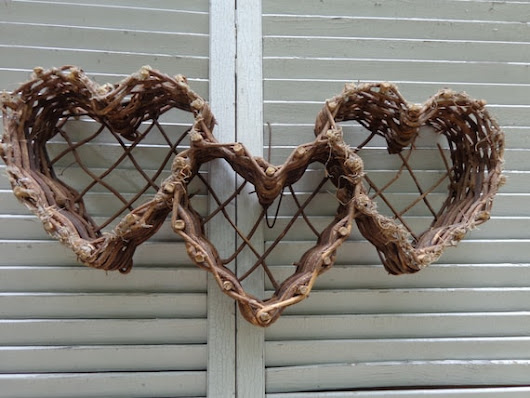 Hearts Triple Three Wicker Woven Wall Hanging by frstyfrolk