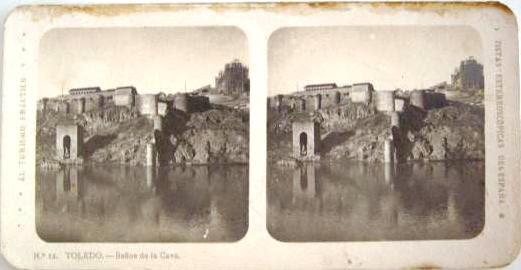 Fotografía estereoscópica de Toledo. Baño de la Cava