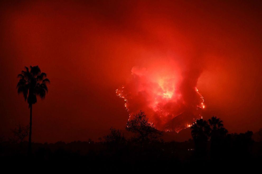 PHOTO: Flames from the Thomas Fire burn in the hills of Montecito, Calif., east of Santa Barbara, Dec. 11, 2017.