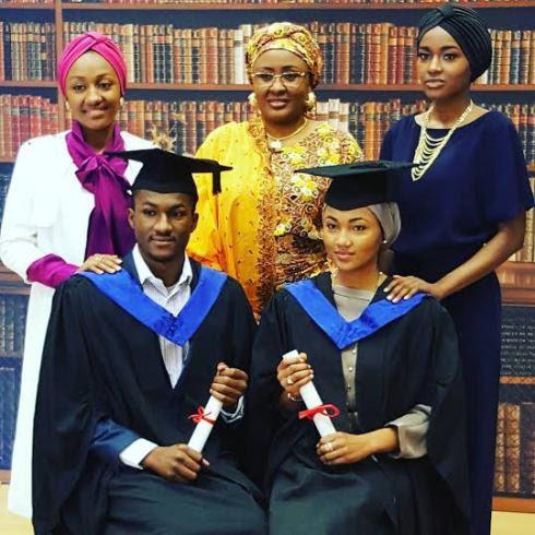 (Photos) Pres.Buhari's children Yusuf & Zahra graduate from college in the UK