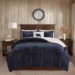 Woolrich - Alton Plush to Sherpa Down Alternative Comforter Set - Navy/Ivory - Full/Queen
