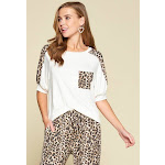 Plus Size Cute Animal Print Pocket French Terry Casual Top 2XL