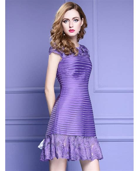 Purple Fit And Flare Lace Short Formal Party Dress For