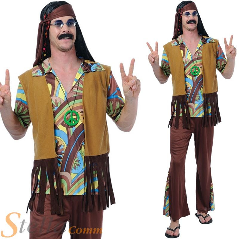 groovy hippie guy mens 60s 70s retro woodstock hippy fancy
