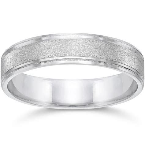 Brushed Wedding Band 5mm 10K White Gold   eBay