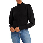 ASTR the Label Womens Ribbed Knit Mock Neck Pullover Sweater Black